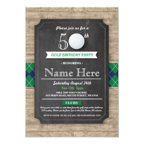 Birthday Party Golf Ball 40th 50th 60th Invitations