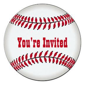 Birthday Party in the Shape of a Baseball Invitations