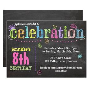 Birthday Party Invitations-Chalk + Neon Invitations