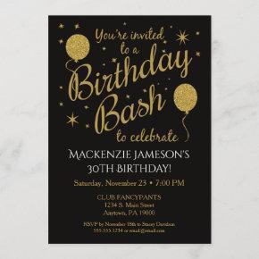 Birthday Party Invitation Gold Balloons