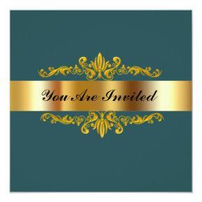 Birthday Party Invitation Green Gold Black