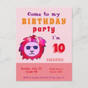 Birthday Party Invitation Kids Cool Lion