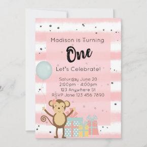Birthday Party Invitation - Pink 1st Birthday