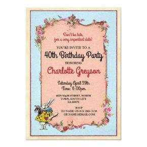 Birthday Party Rabbit Alice Wonderland Invite