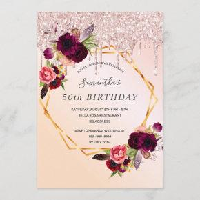 Birthday party rose gold glitter burgundy florals invitation