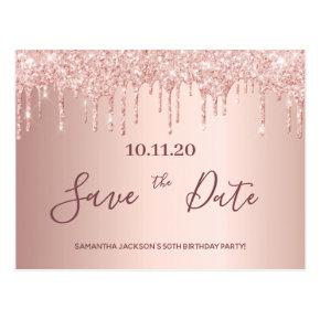 Birthday party rose gold glitter save the date post