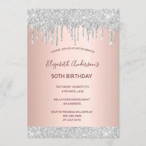 Birthday party rose gold silver glitter drips pink invitation