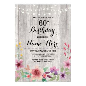 Birthday Party Rustic ANY AGE Wood Floral Invite