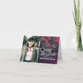 Birthday Party Save The Date Burgundy Floral Photo Invitation
