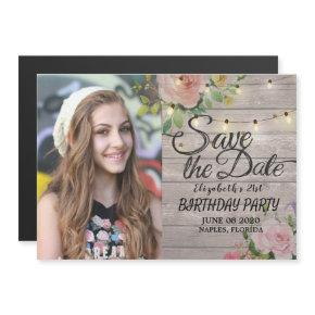 Birthday Party Save The Date Flowers Wood Lights Magnetic Invitation