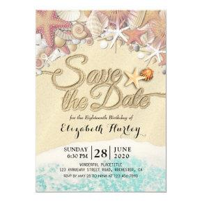 Birthday Party Save The Date Summer Beach Starfish Invitation