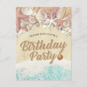 Birthday Party Save The Date Summer Beach Starfish Invitation Post
