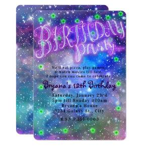 Birthday Party Sleepover Slumber Space Galaxy Invitations