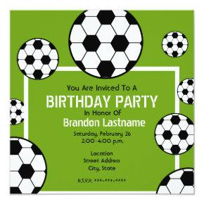 Birthday Party - Soccer Field & Soccer Balls Card