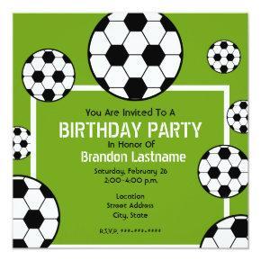 Birthday Party - Soccer Field & Soccer Balls Invitation