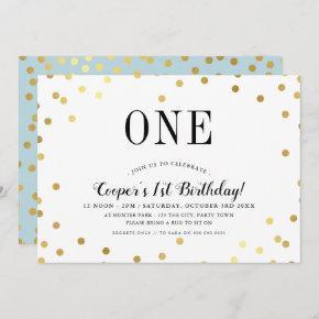 BIRTHDAY PARTY stylish gold confetti blue boy Invitation