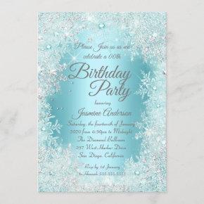 Birthday Party Teal blue Silver Winter Wonderland Invitation