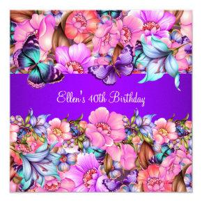 Birthday Party Teal Purple blue Pink Butterfly Invitations