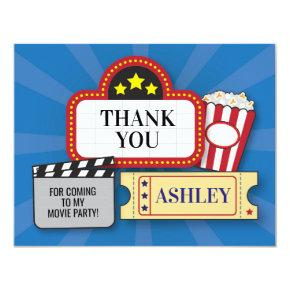 Birthday Party Thank You Movie Film Ticket Popcorn Card
