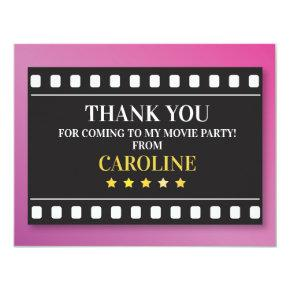 Birthday Party Thank You Show Movie Film Ticket Card