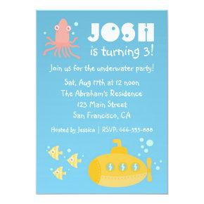 Birthday Party - Underwater theme with submarine Invitation