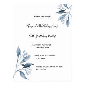 Birthday party white blue botanical invitation post