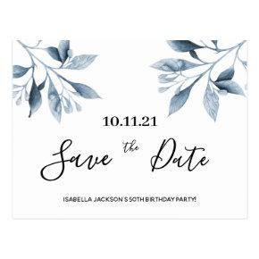 Birthday party white blue botanical save the date post