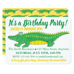Birthday Party Yellow Green Alligator Crocodile Invitations