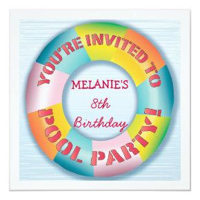 Birthday Pool Party Colorful Fun Float Invitations
