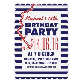Birthday Red Blue Nautical Anchor Party Invitation