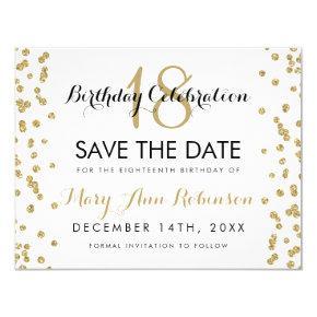 Birthday Save Date Gold Glitter Confetti White Card