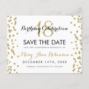 Birthday Save Date Gold Glitter Confetti White Save The Date