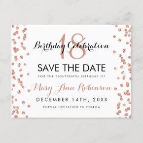Birthday Save Date Rose Gold Glitter Confetti Save The Date