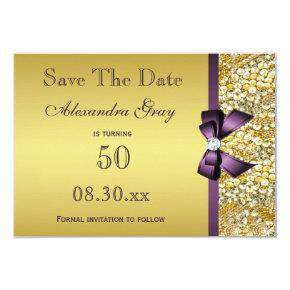 Birthday Save The Date Gold Faux Sequin Purple Bow Card