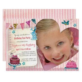 Birthday Tea Girl Heart   Photo Party Invitations