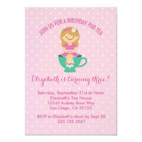 Birthday Tea Party  Par-tea Invite Girl