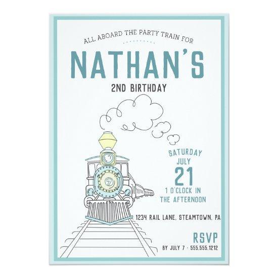 Birthday Train Steam Engine Invitations