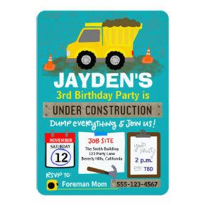 Birthday Under Construction Invitation