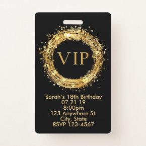 Birthday VIP Pass Badge Invitation