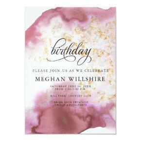 Birthday Watercolor Rose Quartz Gold Geode Invitation
