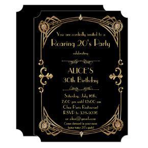 Birthday woman Invitation Any age, Art Deco Gatsby