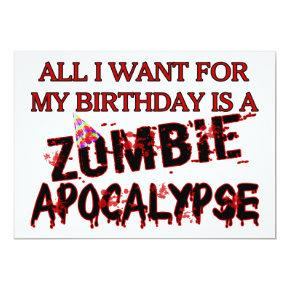 Birthday Zombie Apocalypse Invitation