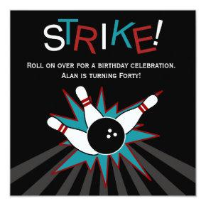Black Adult Bowling Party Invitations