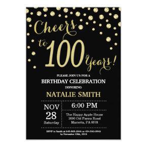 Black and Gold 100th Birthday Diamond Invitations