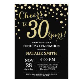 Black and Gold 30th Birthday Diamond Invitations