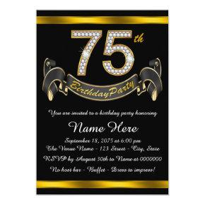 Black and Gold 75th Birthday Party Invitations