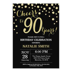 Black and Gold 90th Birthday Diamond Invitations
