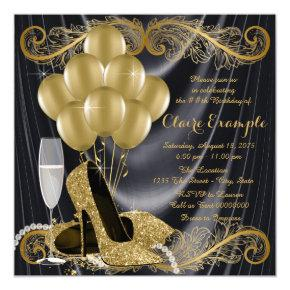 Black and Gold Birthday Party Hollywood Glamour Invitations