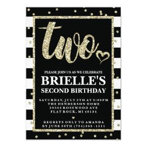 Black and Gold Glitter 2nd Birthday Invitations