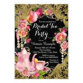 Black and Gold Glitter Rose Tea Party Card